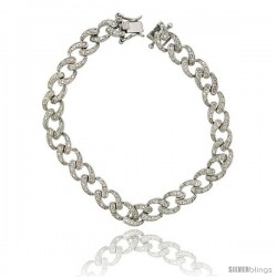 Sterling Silver Tennis Bracelet Cubic Zirconia Stones, Double Link Design, Rhodium Finish, with Hidden safety clasp, 7 in