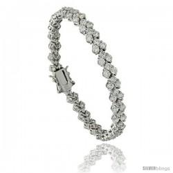 Sterling Silver 9.5 ct. size 3 Row Chevron CZ Tennis Bracelet, 7 in., 1/4 in (7 mm) wide
