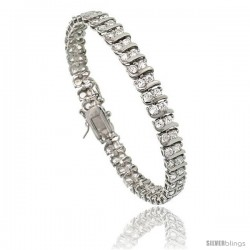 Sterling Silver 2.75 ct. size 2 Row S-Link CZ Tennis Bracelet, 7.25 in., 1/4 in (7 mm) wide