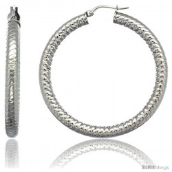 Surgical Steel 2-inch Hoop Earrings Tight Zigzag Embossed Pattern 5 mm Fat tube, feather weigh