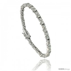 Sterling Silver 4.25 ct. size Slash Link CZ Tennis Bracelet, 7in., 3/16 in (4.5 mm) wide