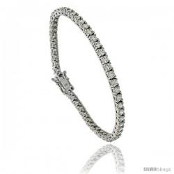 Sterling Silver 10 ct. size Classic Cubic Zirconia Tennis Bracelet, 7 in., 5/32 in (4 mm) wide