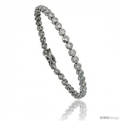 Sterling Silver 4 ct. size Bezel Set CZ Tennis Bracelet, 7 in., 5/32 in (4 mm) wide