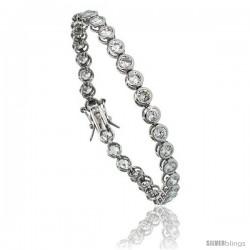 Sterling Silver 7.5 ct. size Bezel Set CZ Tennis Bracelet, 7 in., 3/16 in (5 mm) wide