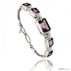 Sterling Silver Bali Style Byzantine Toggle Bracelet, w/ 15x10mm & four 10x8mm Emerald Cut Natural Amethyst Stones, 1/2""