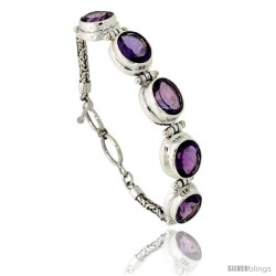 "Sterling Silver Bali Style Byzantine Toggle Bracelet, w/ five 13x11mm Oval Cut Natural Amethyst Stones, 1/2"" (12 mm) wide"