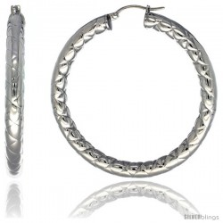 Surgical Steel 2-inch Hoop Earrings Zigzag Embossed Pattern 5 mm Fat tube, feather weigh