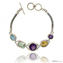 Sterling Silver Bali Style Byzantine Toggle Bracelet, w/ 8mm & 13mm Brilliant Cut Amethyst, 12x10 Oval Cut Citrine, 11x9mm