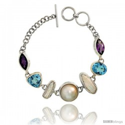 Sterling Silver Toggle Bracelet, w/ Pearl, Trillion Cut (12 mm) & Oval Cut 12x10mm Blue Topaz, & two 15x8mm Marquise Cut