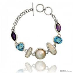 Sterling Silver Toggle Bracelet, w/ Pearl, Trillion Cut (12 mm) & Oval Cut 12x10mm Blue Topaz, & two 15x8mm Marquise Cut
