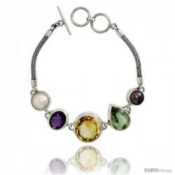 Sterling Silver Bali Style Byzantine Toggle Bracelet, w/ Black & White Pearls, 17mm Brilliant Cut Citrine, Oval Cut 13x11mm