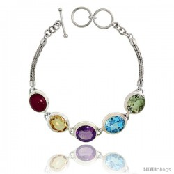 Sterling Silver Bali Style Byzantine Toggle Bracelet, w/ Oval Cut 13x11mm Ruby, Amethyst, Blue Topaz, Citrine & Green Amethyst
