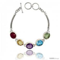 Sterling Silver Bali Style Byzantine Toggle Bracelet, w/ Oval Cut 13x11mm Ruby, Amethyst, Blue Topaz, Citrine & Green Amethyst