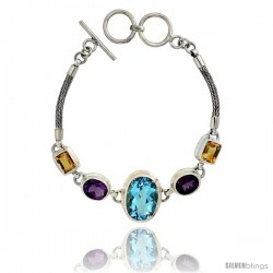 Sterling Silver Bali Style Byzantine Toggle Bracelet, w/ Oval Cut 19x14mm Blue Topaz, two Oval Cut 10x8mm Amethyst & two