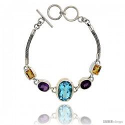 Sterling Silver Bali Style Byzantine Toggle Bracelet, w/ Oval Cut 19x14mm Blue Topaz, two Oval Cut 10x8mm Amethyst & two