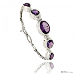 Sterling Silver Bali Style Byzantine Toggle Bracelet, w/ one Oval Cut 17x13mm, two Oval Cut 13x11mm, two Pear Cut 13x9mm