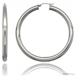 Surgical Steel 2 1/4 in Hoop Earrings Mirror Finish 5 mm Fat tube, feather weigh