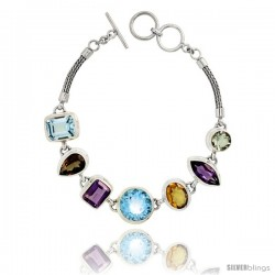 Sterling Silver Bali Style Byzantine Toggle Bracelet, w/ Brilliant Cut 14mm & Emerald Cut 12x10mm Blue Topaz, Marquise Cut