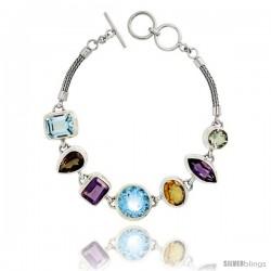 Sterling Silver Bali Style Byzantine Toggle Bracelet, w/ Brilliant Cut 14mm & Emerald Cut 12x10mm Blue Topaz, Marquise Cut
