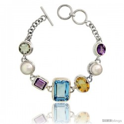 Sterling Silver Toggle Bracelet, w/ White Pearls, Emerald Cut 19x14mm Blue Topaz, Emerald Cut 11x9mm & Oval Cut 11x9mm