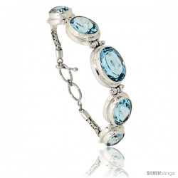 Sterling Silver Bali Style Byzantine Toggle Bracelet, w/ one 19x14mm, two 17x13mm & two 15x11mm Oval Cut Natural Blue Topaz