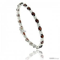 """Sterling Silver Tennis Bracelet, w/ 6 x 4 mm Oval Shape Garnet Colored CZ Stones, 7"""""""