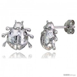 "Sterling Silver Jeweled Ladybug Post Earrings, w/ Cubic Zirconia stones, 7/16"" (11 mm)"
