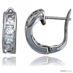 Sterling Silver Small Hoop Earrings Channel Set Square CZ, 5/8 in. 16 mm