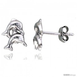 "Sterling Silver Jeweled Dolphin Post Earrings, w/ Cubic Zirconia stones, 7/16"" (11 mm)"