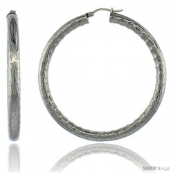Surgical Steel 2 1/4 in Hoop Earrings Bamboo Embossed Pattern 5 mm Fat tube, feather weigh
