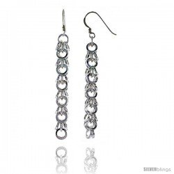 "Sterling Silver Small Circles French Ear Wire Dangle Earrings, 2 1/2"" (63 mm) tall"