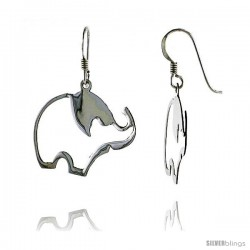 "Sterling Silver Elephant Cut Out French Ear Wire Dangle Earrings, 1 7/16"" (36 mm) tall"