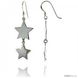 "Sterling Silver Double Star French Ear Wire Dangle Earrings, 1 3/4"" (45 mm) tall"