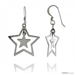 "Sterling Silver Double Star French Ear Wire Dangle Earrings, 1 1/2"" (38 mm) tall"