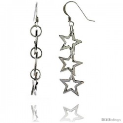 "Sterling Silver Triple Star Cut Outs French Ear Wire Dangle Earrings, 2"" (50 mm) tall"