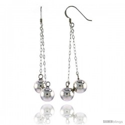 "Sterling Silver Double Ball French Ear Wire Dangle Earrings, 2 1/2"" (63 mm) tall"