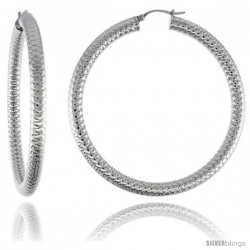 Surgical Steel Tube Hoop Earrings 2 3/8 in Round 5 mm Thick Tight Zigzag Pattern, feather weight