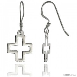 "Sterling Silver Cross Cut Out Dangle Earrings, 5/8"" (15 mm) tall"