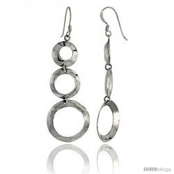 "Sterling Silver Graduated Circle Cut Outs Dangle Earrings, 2 1/8"" (53 mm) tall"