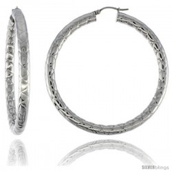 Surgical Steel Tube Hoop Earrings 2 1/2 in Round 4 mm wide Zigzag Pattern, feather weight