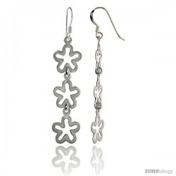 "Sterling Silver Triple Flower Drop Dangle Earrings, 1 3/4"" (45 mm) tall"