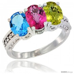 14K White Gold Natural Swiss Blue Topaz, Pink Topaz & Lemon Quartz Ring 3-Stone 7x5 mm Oval Diamond Accent
