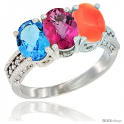 14K White Gold Natural Swiss Blue Topaz, Pink Topaz & Coral Ring 3-Stone 7x5 mm Oval Diamond Accent