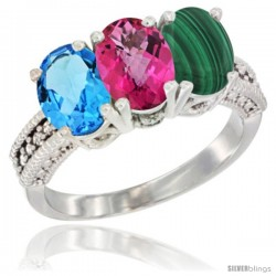 14K White Gold Natural Swiss Blue Topaz, Pink Topaz & Malachite Ring 3-Stone 7x5 mm Oval Diamond Accent