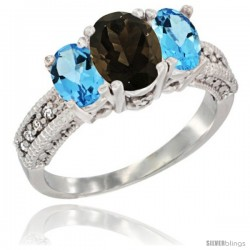 14k White Gold Ladies Oval Natural Smoky Topaz 3-Stone Ring with Swiss Blue Topaz Sides Diamond Accent