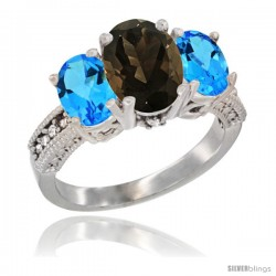 14K White Gold Ladies 3-Stone Oval Natural Smoky Topaz Ring with Swiss Blue Topaz Sides Diamond Accent