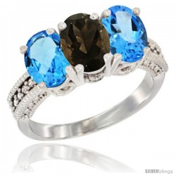 14K White Gold Natural Smoky Topaz & Swiss Blue Topaz Sides Ring 3-Stone 7x5 mm Oval Diamond Accent