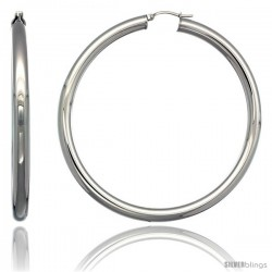 Surgical Steel 2 3/4 in Hoop Earrings Mirror Finish 5 mm Fat tube, feather weigh
