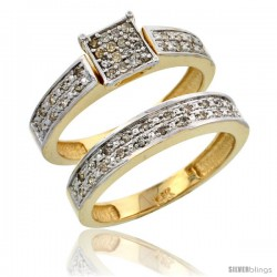 10k Gold 2-Piece Diamond Engagement Ring Set, w/ 0.24 Carat Brilliant Cut Diamonds, 5/32 in. (4mm) wide