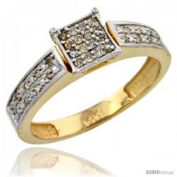 10k Gold Diamond Engagement Ring, w/ 0.10 Carat Brilliant Cut Diamonds, 5/32 in. (4mm) wide
